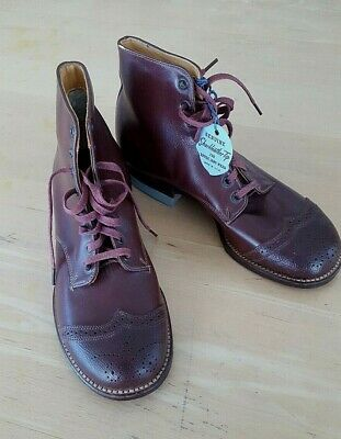 Vintage brown leather Child Poll Parrot Lace up Boot shoe NEVER WORN