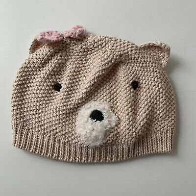 Next Girls Beige Teddy Bear Hat - 12-18 Months - Immaculate Condition