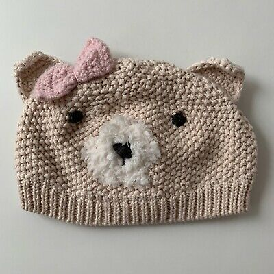 Next Girls Beige Teddy Bear Hat 0-3 Months - Immaculate Condition