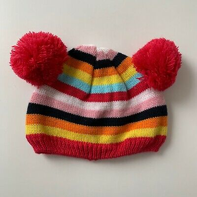 Next Girls Multicoloured Stripe Pom Hat - 0-3 Months - Immaculate Condition