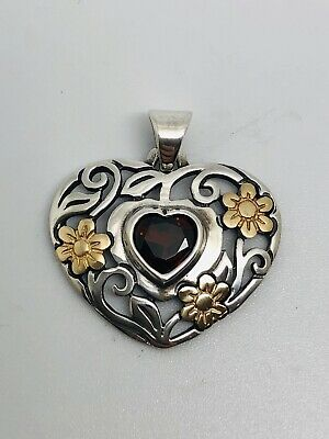 James Avery Sterling Silver And 14k Heart Pendant With Garnet & Flowers, RETIRED
