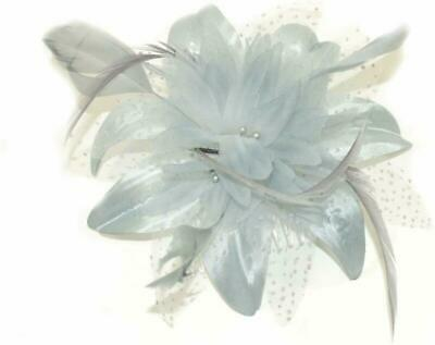 Silver Grey Chiffon Flower And Feather Fascinator On Comb. Ideal For Weddings, R