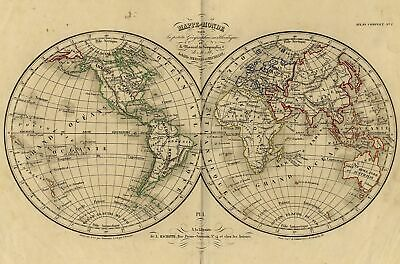 Card Geographical World Map Engraving Original 19th Sicèle