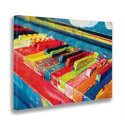 Print on canvas on wooden frame - Colored piano - Fine art print - Ready to hang