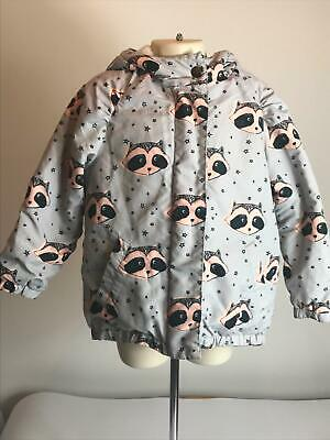 Girls Next Grey & Pink Warm Winter Zip Up Coat Jacket Hooded Kids Age 4-5 Years