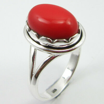 Sterling Silver Simulated Coral Prong Setting Ring Size 8.75 Combined Shipping