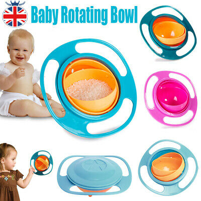 Portable Baby Kids Child Food Gyro Bowl Rotate Spill-Proof Bowl Feeder Dishes UK