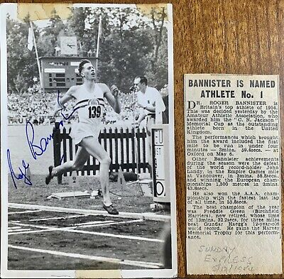 Roger Bannister hand signed rare photo , with cutting 1954
