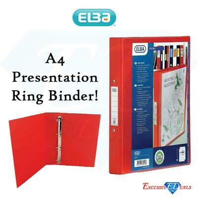 Elba Strong Premium Quality 4 Ring PVC A4 Presentation Ring Binder In Red