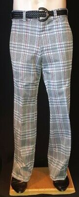 Grey checked golf pants, polyester, 1960's, USA by 'Kings Road', size 32""