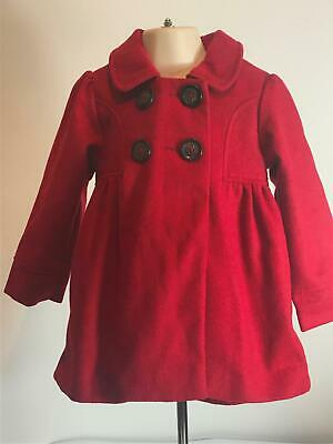 Girls Pumpkin Patch Red Button Fastening Warm Winter Coat Kids Age 3 Years