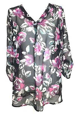 Two Hearts Maternity Womans Small Black Sheer Pink Floral Blouse Top Shirt