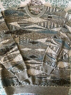 vtg 80s 90s PRONTO UOMO sweater 2XL ugly aesthetic cosby Brown Cream Blue
