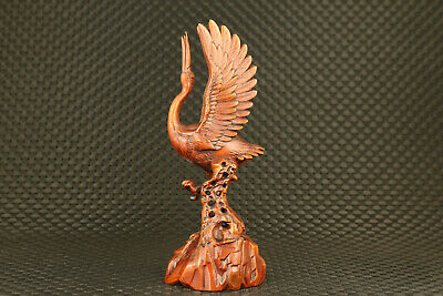 Chinese old boxwood hand carved crane statue figure collectable