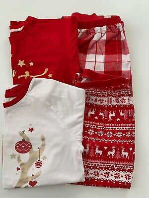 x2 Pairs Matalan Girls Christmas Pyjama Sets - Age 10-11 Years - Great Condition