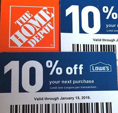 (20X) home depot 10% OFF! exp 12/15/2020 Lowes coupon ONLY WORKS @ COMPETITOR