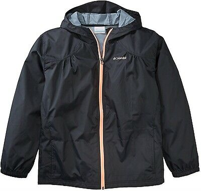 Columbia 173296 Girls Waterproof & Breathable Rain Jacket Black Size XXS