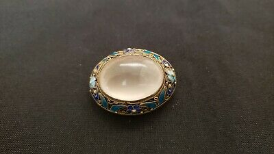 Antique Chinese sterling silver enamel rose quartz brooch