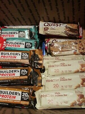 64 Clif Builders Protein Bars, Clothes Quest and Think Thin Assorted Flavors!