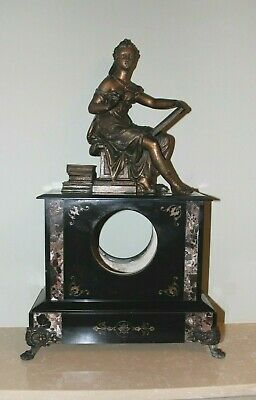 French Figural Lady + Paw Feet Slate / Marble Mantle Clock Case c1880
