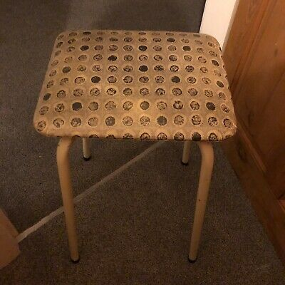 "vintage retro 1950""s kitchen stool metal legs with white/ grey seat"