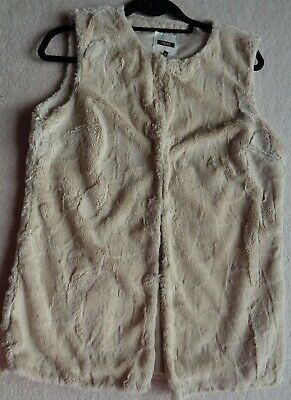 Next Women's Size 12 Light Beige Faux Fur Fluffy Gilet Body Warmer