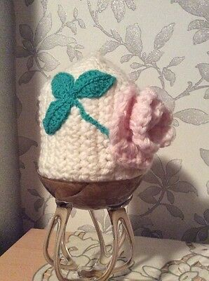 Baby Girl Cute Winter Warm Knitted Hat Baby Girl Kids White With Pink Flower