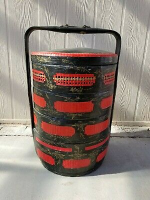 """Vintage Chinese Wedding Basket-28""""tall x 17""""wide/ blk & cinnabar red lacquered"""