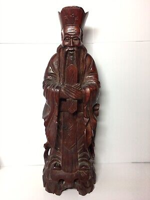 "Chinese Carved Wooden Wenchang Wang 10.25"" Statue Figurine Vintage To Antique"
