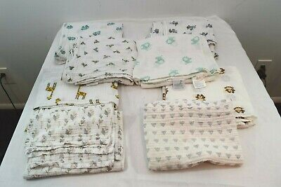 Aden + Anais & other brands Baby Boy Muslin Baby Swaddling Blanket Lot 8