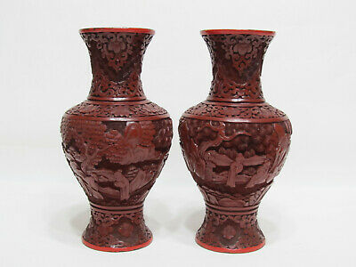 Pair of Old or Antique Chinese Carved Cinnabar Lacquer Vases