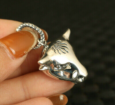 100% S925 Silver cow Statue Pendant Netsuke necklace collection boy girl gift