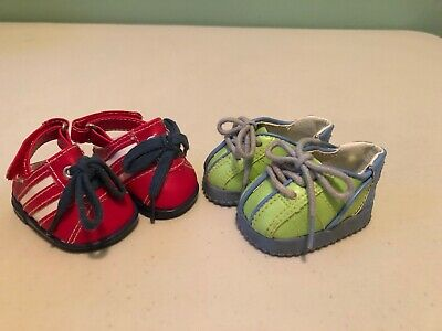 American Girl Bitty Baby Twins Boy And Girl SHOES Green & Red Lot Of 2 Pairs ✔️