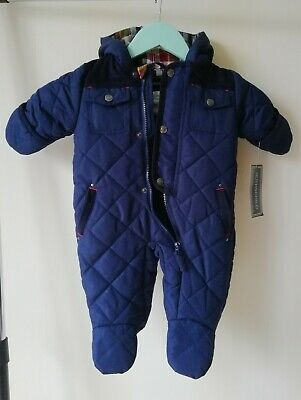 NEW Rothschild Baby Boys/' Hooded Navy Quilted Pram Snowsuit 12  Months