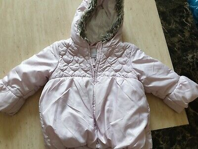 girls NEXT bubble puffer hooded jacket coat padded fleece lined age 2-3 years