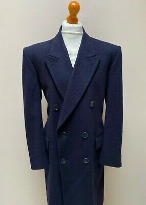 Vintage double breasted navy blue crombie wool overcoat size 44