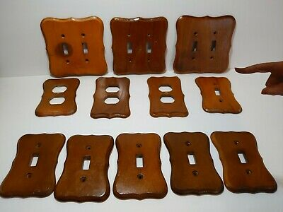 Vintage Real Wood Grain Outlet Receptacle Wall Cover Plates LOT of 12