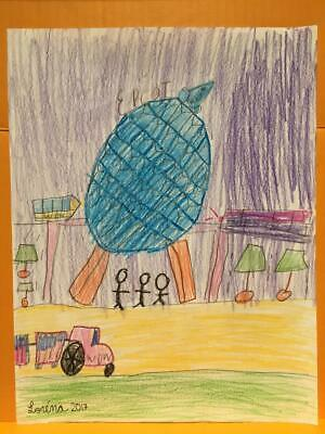 Epcot Center Florida Kid Drawing By 9 Year Old Artist Monorail And Visitors