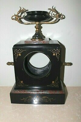 Attractive French Red Marble Mantle Clock Case With Urn Brass c1880