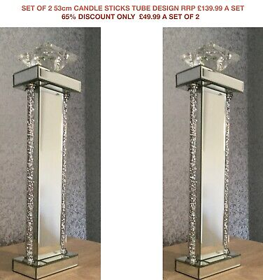 Set Of 2 Mirror Crushed Diamond Crystal Candle Sticks 53cm 65% Off RRP£49.99 Set