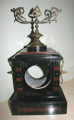 French Slate / Red Marble Mantle Clock Case With Metal Brass ? Features c1880