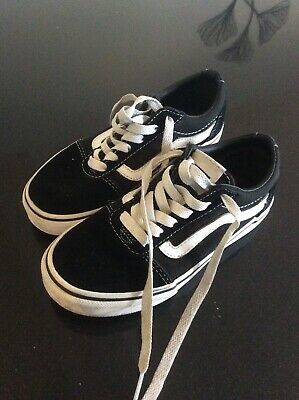 Girls Boys kids black vans Trainers Uk size 12.5