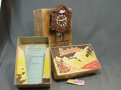 NIB Vintage Pendulette Novelty Clock by LUX No.301 Blue Bird Animated With Box
