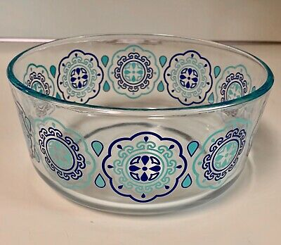 Pyrex clear glass bowl serving mixing vintage blue teal turquoise pattern Aztec