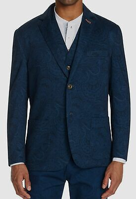 $465 Tallia Men's XL Blue Paisley Stretch Slim Fit Blazer Suit Jacket Sport Coat