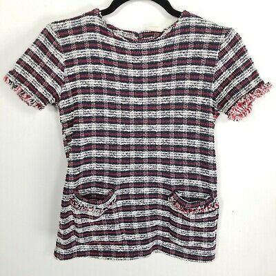 Zara girls collection 7 texture tunic top red white black fringe pockets