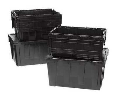 ORBIS FP243 Black Recycled Attached Lid Container, 2.4 cu. ft., Black
