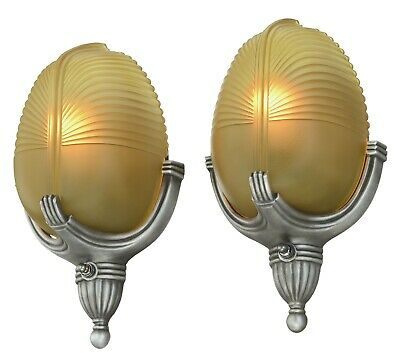 Pair of Neat Art Deco Streamline Sconces by Markel ANT-1144