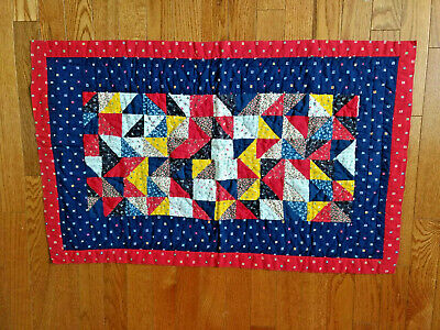 Patchwork quilt baby size 22 x 36 inches red blue yellow coverlet lap