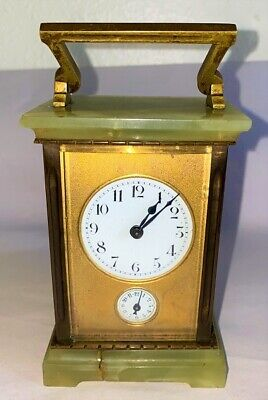 Antique French Charles Hour 11 Jewel Carriage Alarm Clock circa 1900